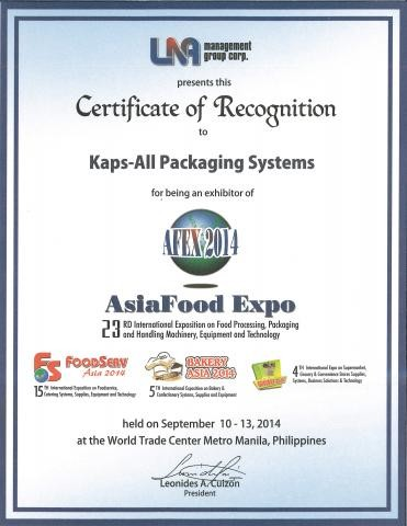 Kaps-All Exhibits at the 2014 Asia Food Expo