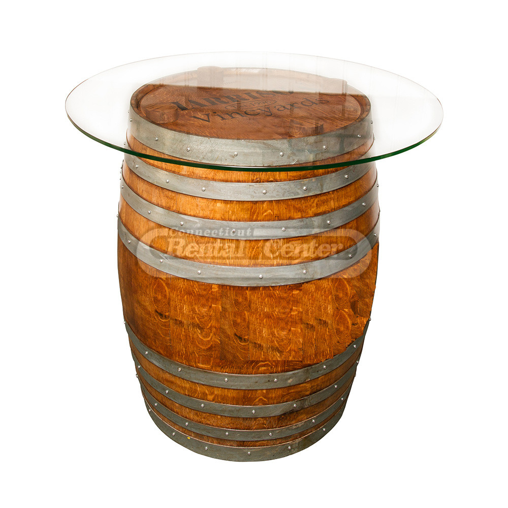 Rent Wine Barrel Cocktail Table With 48 Glass Top From Ct Rental Center