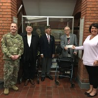 Rich Papallo, Ed Priest, Sr. Vice, and Mike Johnson from American Legion Post 187 in Wallingford, make a $1,000 donation to CW4 Chris Mackenzie, President and Mrs. Kim Hoffman, Treasurer of CTNGFI.  The donation was in support of Operation ELF.