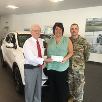 Mr. Ken Crowley, President of Crowley Auto Group, presents a $510 check to Kim Hoffman, Treasurer and Chris Mackenzie, President of the CTNGFI on October 23, 2019, on behalf of the National Automotive Dealers Association Foundation.