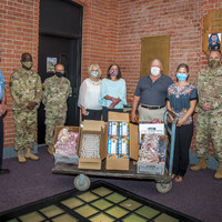 Over 1600 hand made facemasks and hand sanitizer for CTNG families were recently donated.  Present are: John Godburn;  CSM Orlando Anderson 143d RSG; MG Fran Evon;  Kathy Roelofsen; Annette Cook; CSM(R) Joe Sevigny; Melody Baber; CSM Dan Morgan 1/102d Inf