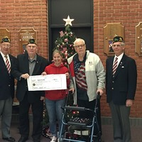 Dave Gessert, Commander; Rich Papallo; Mike Johnson and Ed Priest, Sr. Vice, all from American Legion Post 187 in Wallingford,  make a $2,000 donation to Melody Baber of the CTNG Family Program in support of Operation ELF.  Thank you for your donation !