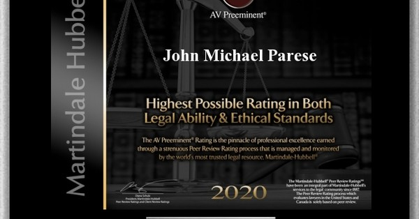 John M. Parese Achieves 2020 AV Preeminent Rating®